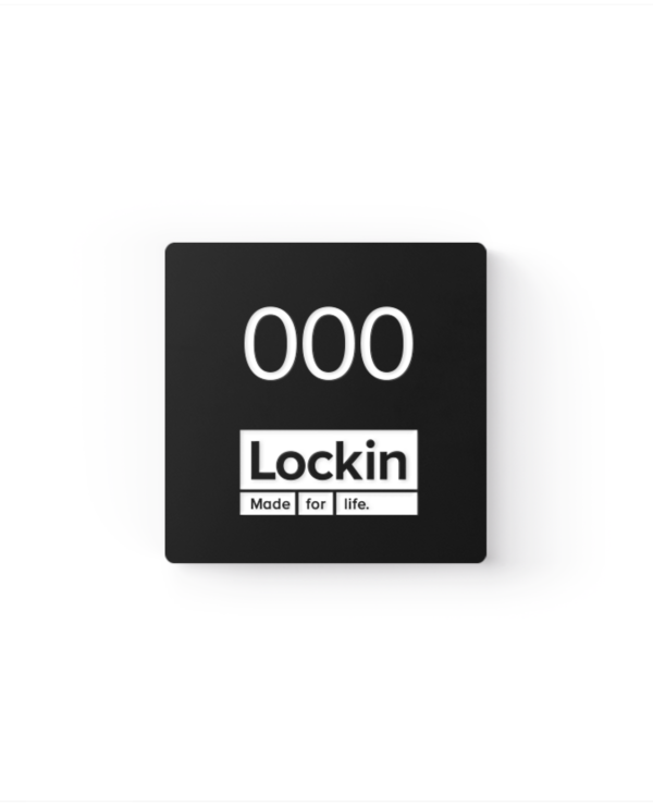 Lockin signage 21 Branded square number tag