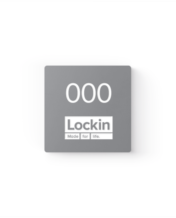 Lockin signage 22 Branded square number tag